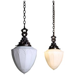 19th Century Pair of Large Gothic Opaline Lanterns Lights Chandeliers