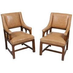 19th Century Pair of Library Armchairs in the Gothic Manner
