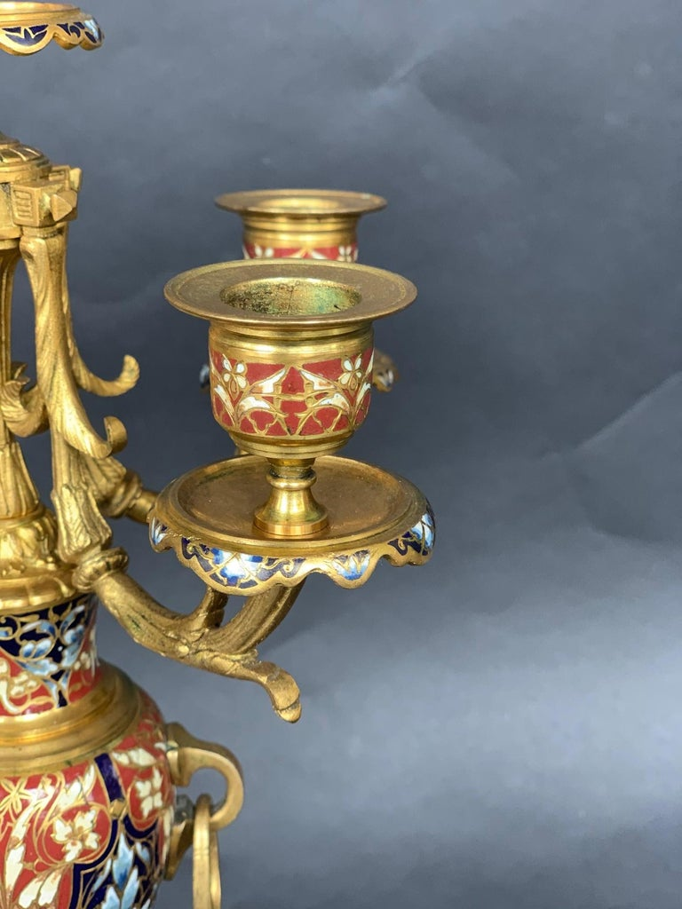 Bronze 19th Century Pair of Louis XV Champlevé Candelabra For Sale
