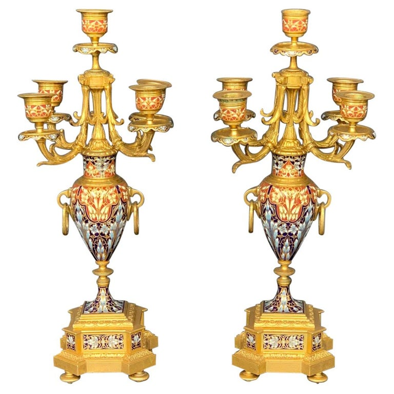 19th Century Pair of Louis XV Champlevé Candelabra For Sale