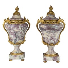 19th Century Pair of Louis XV Ormolu-Mounted Sarrancolin Marble Urn and Cover