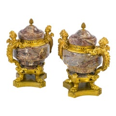 19th Century Pair of Louis XV Style Ormolu Mounted Marble Urns and Cover