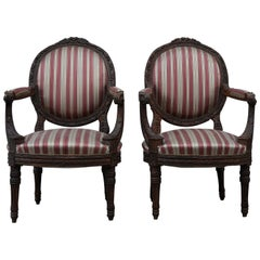 19th Century Pair of Louis XVI Armchairs Carved with Spring Padding, 1800s