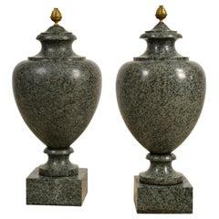 19th Century, Pair of Louis XVI Style Green Granite Vases