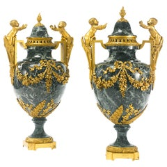 19th Century Pair of Louis XVI style Ormolu Mounted Patricia Green Marble Urns