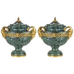 19th Century Pair of Louis XVI Style Ormolu Verde Antico Mounted Marble Urns