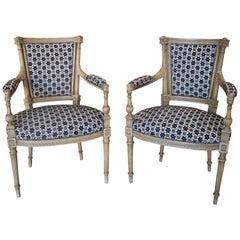 19th Century Pair of Louis XVI Armchairs Upholstered w/ Lorenzo Castillo Fabrics