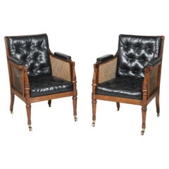 19th Century Pair of Mahogany and Black Leather Armchairs attributed to Gillows