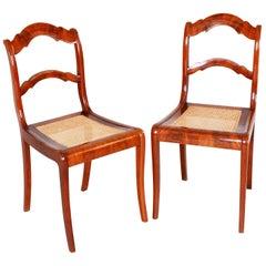 19th Century Pair of Mahogany German Biedermeier Chairs, New Wickerwork Pedig