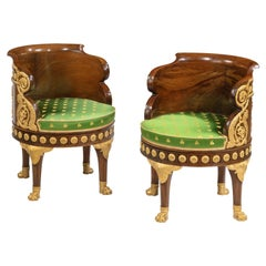 19th Century Pair of Mahogany Revolving Chairs of the Napoleon III Empire Period
