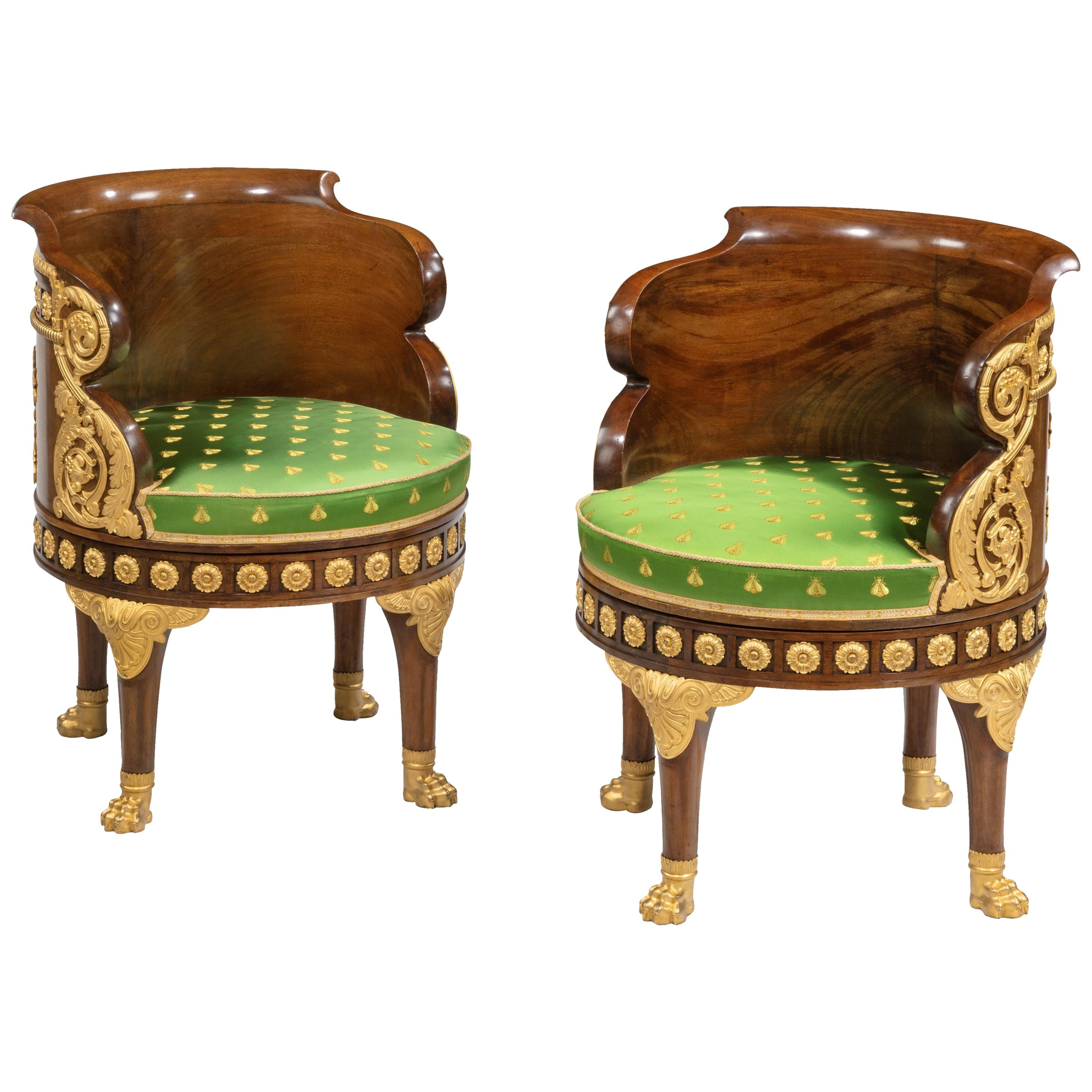 19th Century Pair of Mahogany Revolving Chairs of the Napoleon III Empire Period
