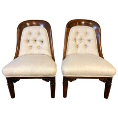 19th Century Pair of Mahogany Upholstered Bedroom Chairs