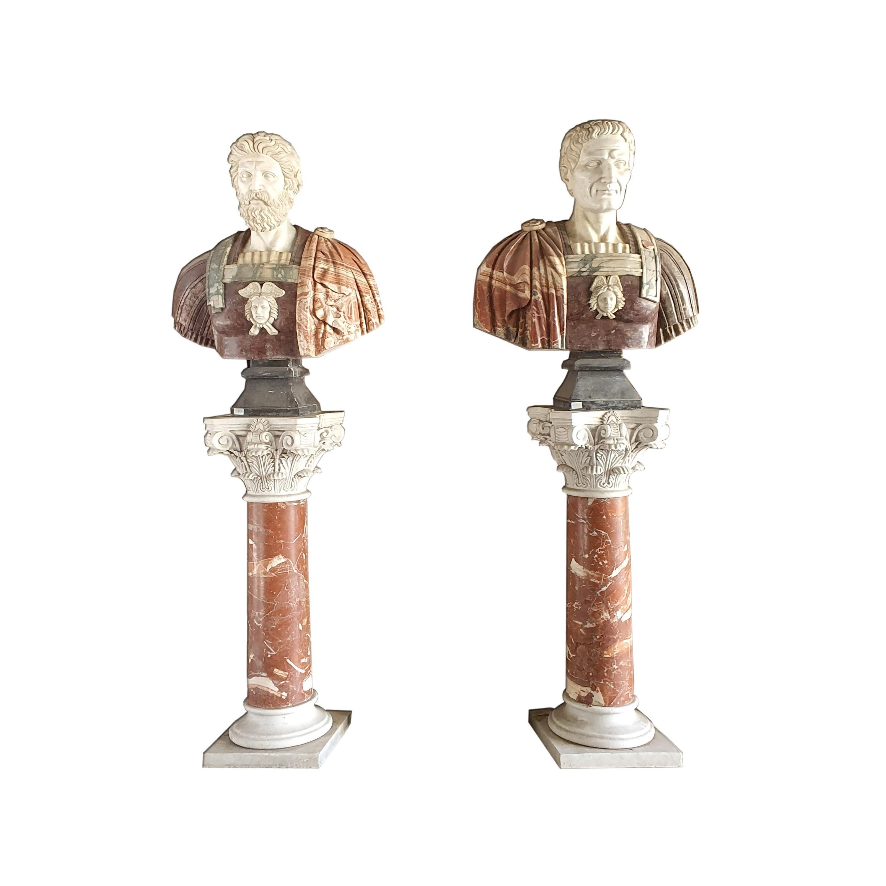 19th Century Pair of Marble Busts with Marble Pedestals Statuary Marble Breccia