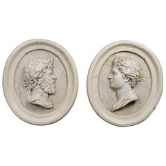 """19th Century Pair of Marble Relief Plaques"""