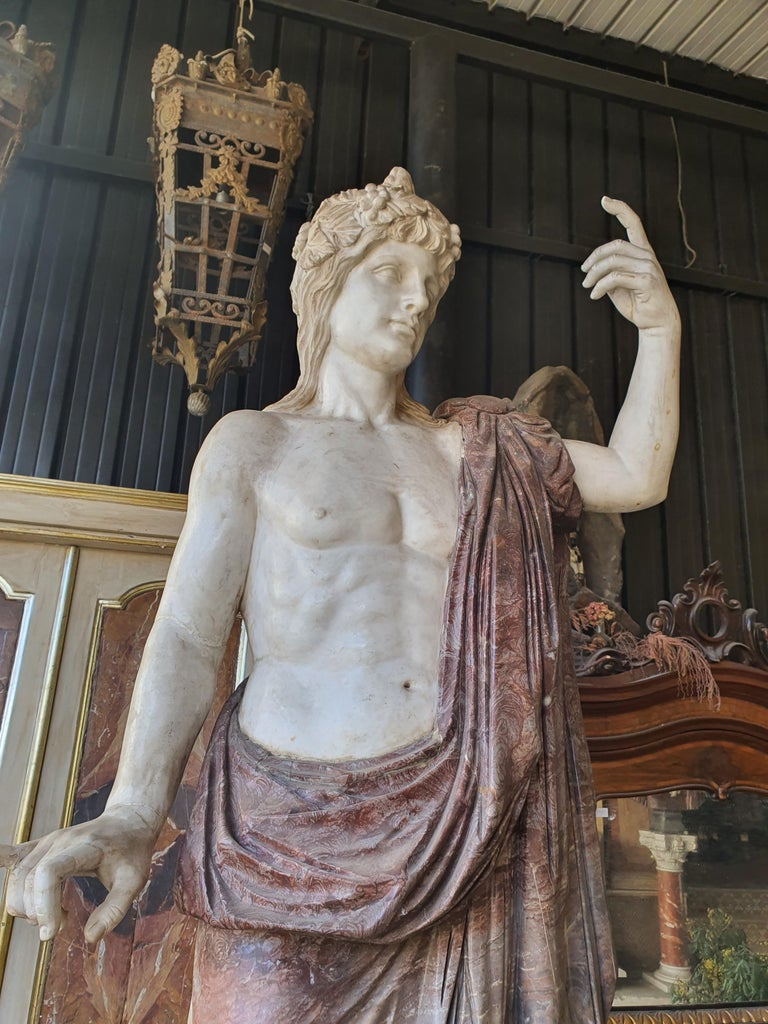 19th Century Pair of Marble Sculptures Romastatuary Marble Red Marble For Sale 2