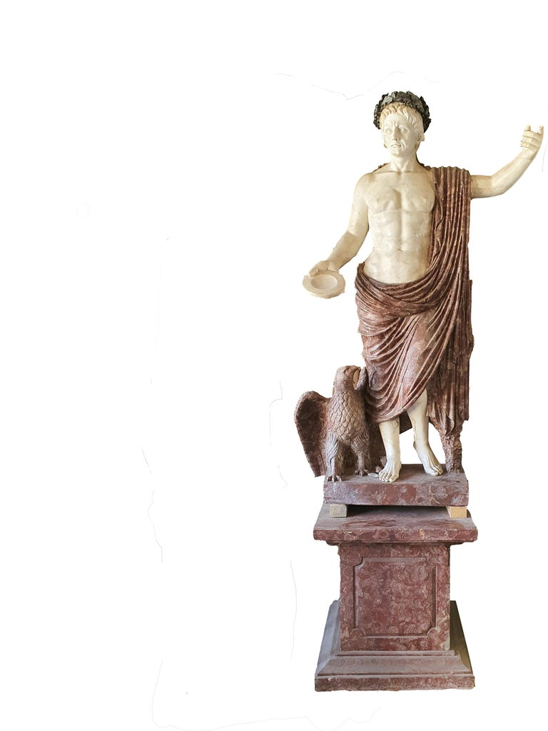 Italian 19th Century Pair of Marble Sculptures Romastatuary Marble Red Marble For Sale