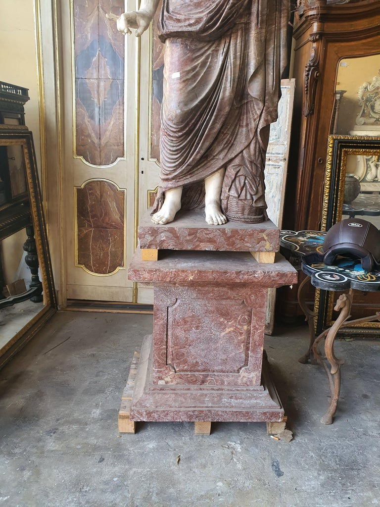 19th Century Pair of Marble Sculptures Romastatuary Marble Red Marble For Sale 3