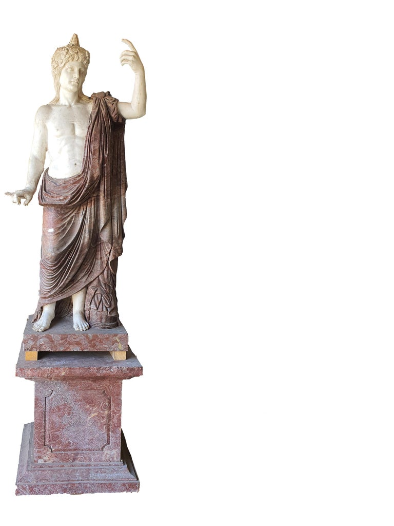 19th Century Pair of Marble Sculptures Romastatuary Marble Red Marble In Good Condition For Sale In PALERMO, IT