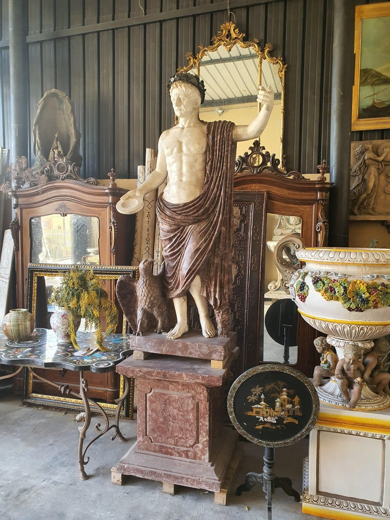 19th Century Pair of Marble Sculptures Romastatuary Marble Red Marble For Sale 5