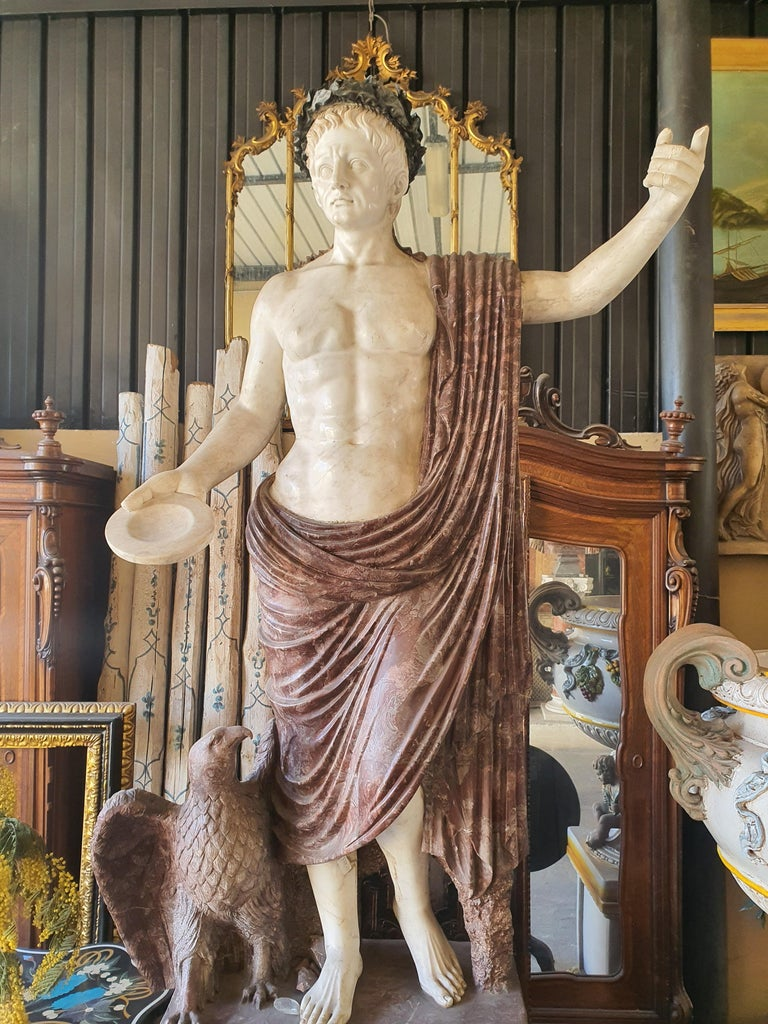19th Century Pair of Marble Sculptures Romastatuary Marble Red Marble For Sale 6
