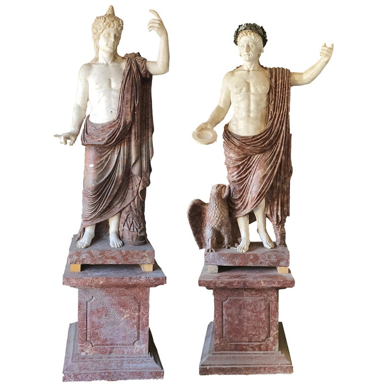 19th Century Pair of Marble Sculptures Romastatuary Marble Red Marble For Sale