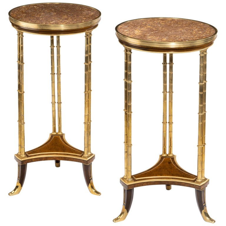 19th Century Pair of Marble Top Gueridons in the Manner of Weisweiler For Sale