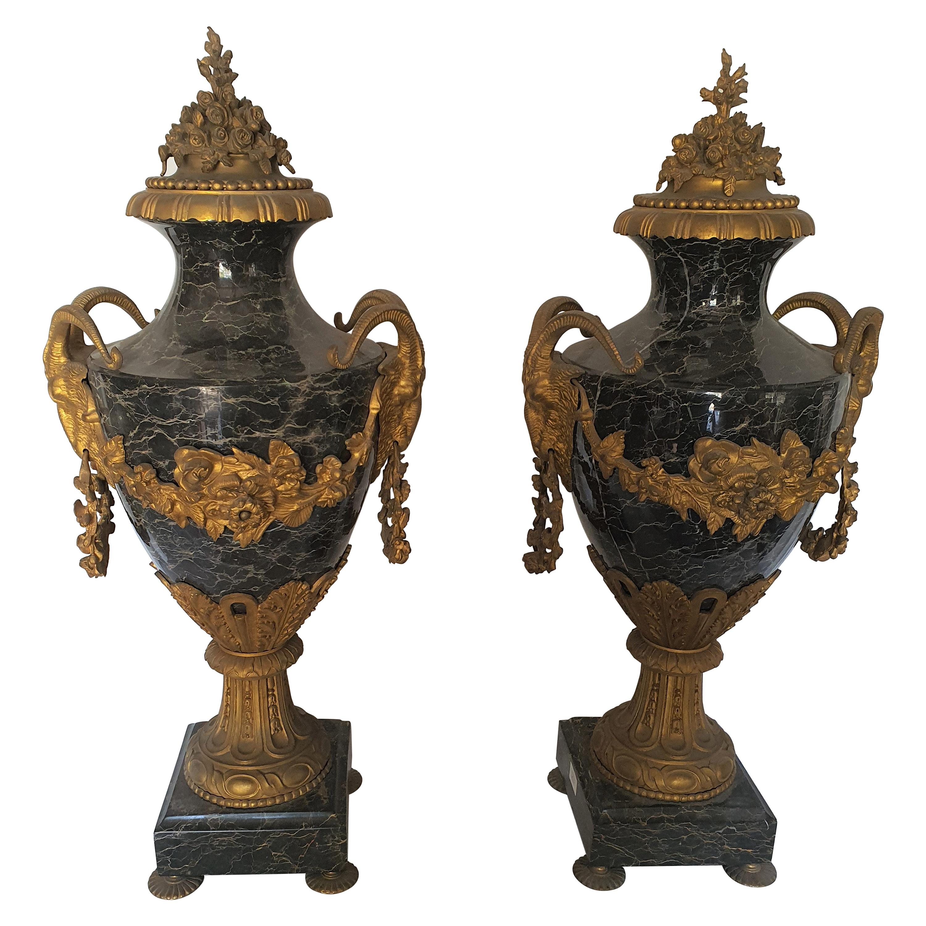 19th Century Pair of Marble Vases, Finely Chiseled and Gilded Bronze