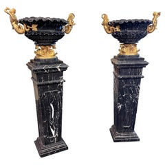 19th Century Pair of Marble Vases with Pedestals, Gold Bronze