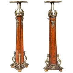 19th Century Pair of Marquetry Inlaid Tripod Pedestals with Bronze Decoration