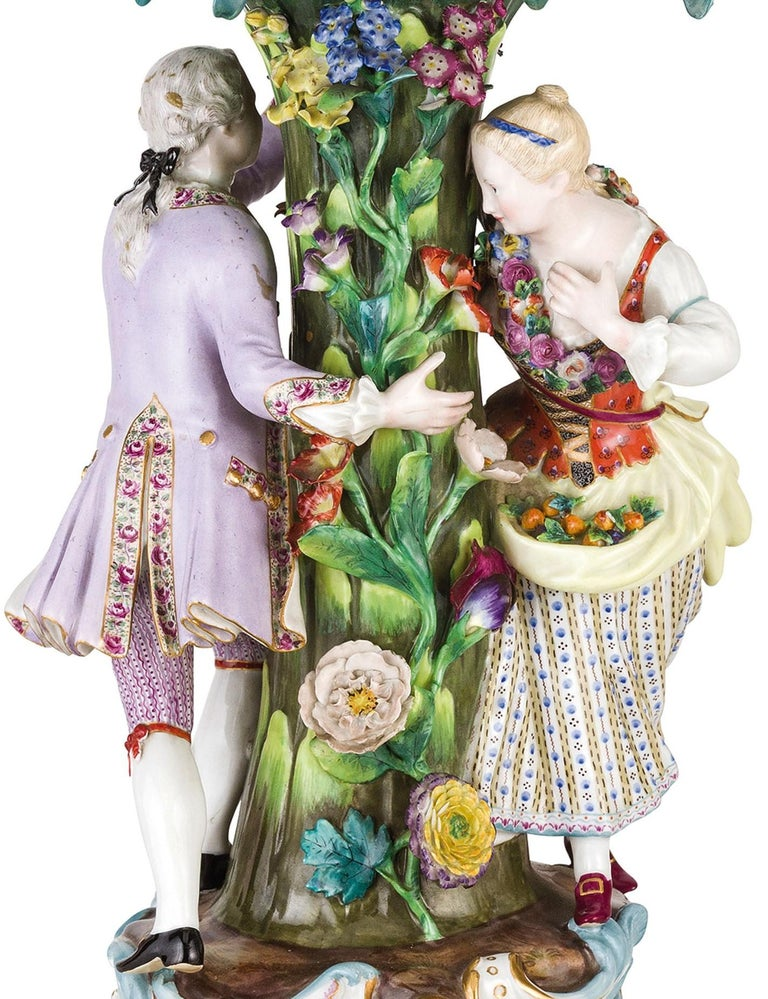 Hand-Painted 19th Century Pair of Meissen Porcelain Centerpieces For Sale