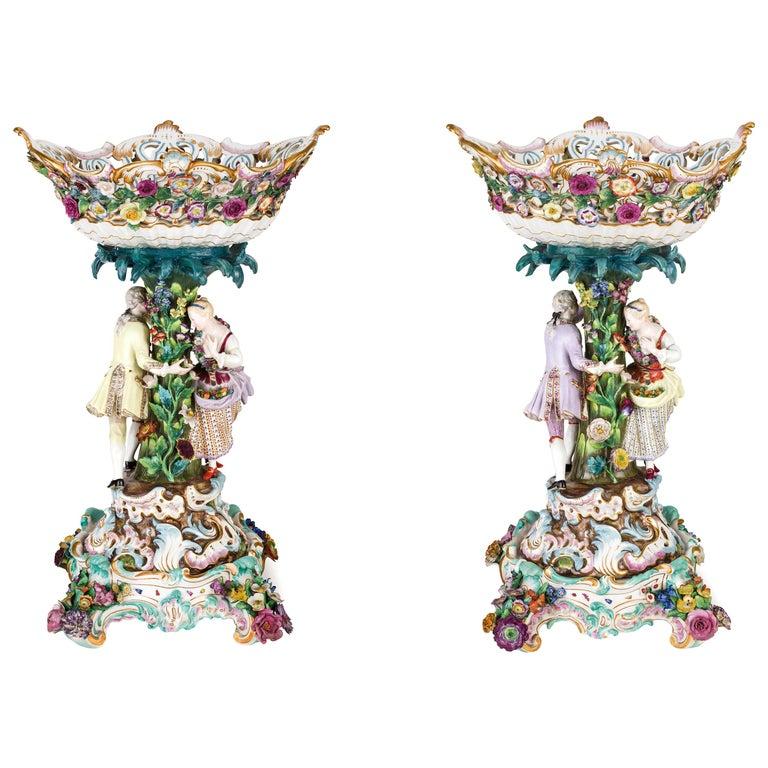 19th Century Pair of Meissen Porcelain Centerpieces For Sale