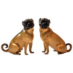 19th Century Pair of Meissen Porcelain Figures of Pug Dogs, Germany