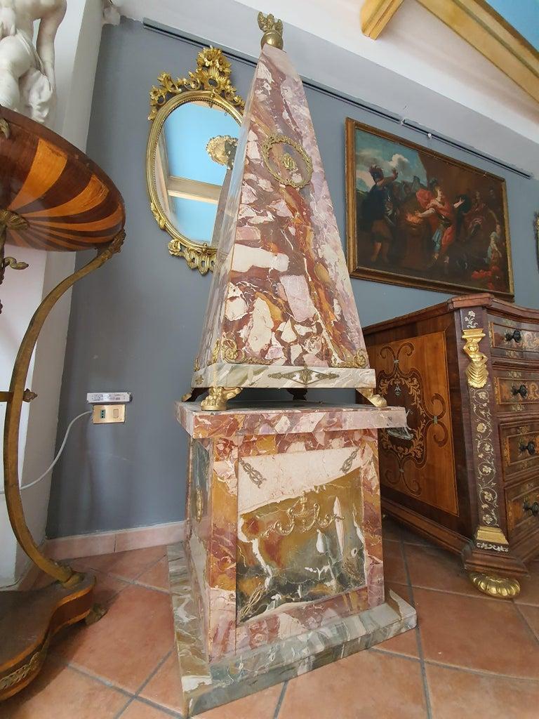 19th Century Pair of Monumental Neoclassical Obelisks Jasper Marble Gild Bronze For Sale 11