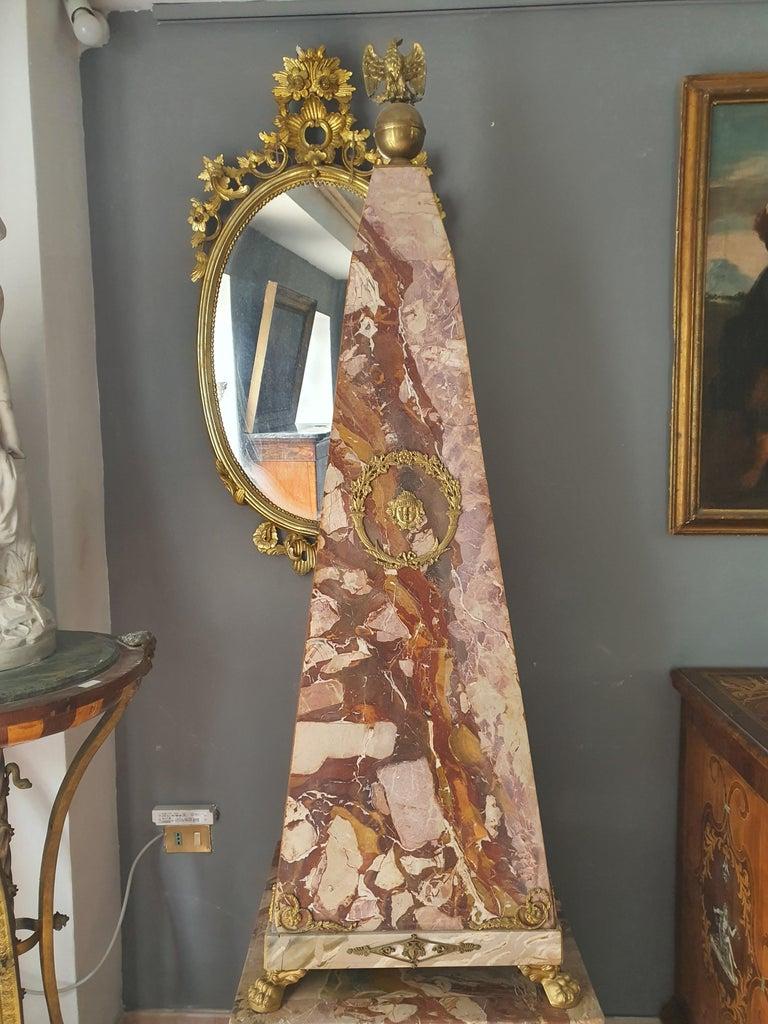 19th Century Pair of Monumental Neoclassical Obelisks Jasper Marble Gild Bronze For Sale 3