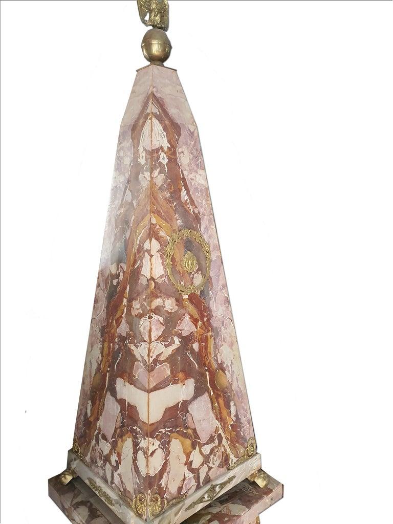 Napoleon III 19th Century Pair of Monumental Neoclassical Obelisks Jasper Marble Gild Bronze For Sale