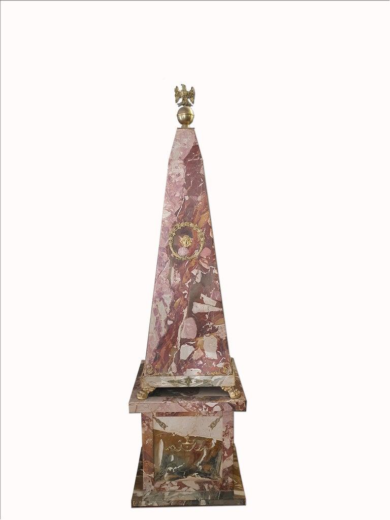 Sicilian 19th Century Pair of Monumental Neoclassical Obelisks Jasper Marble Gild Bronze For Sale