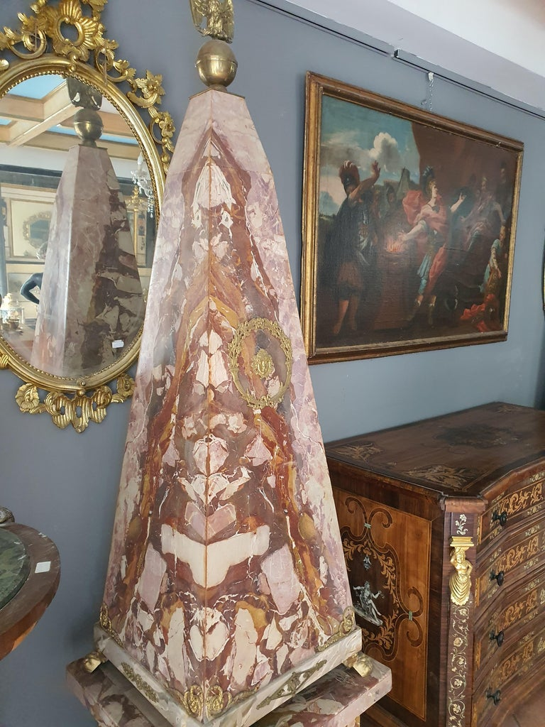 19th Century Pair of Monumental Neoclassical Obelisks Jasper Marble Gild Bronze For Sale 5