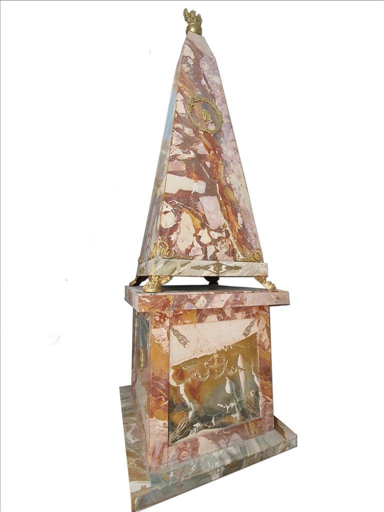 Gilt 19th Century Pair of Monumental Neoclassical Obelisks Jasper Marble Gild Bronze For Sale
