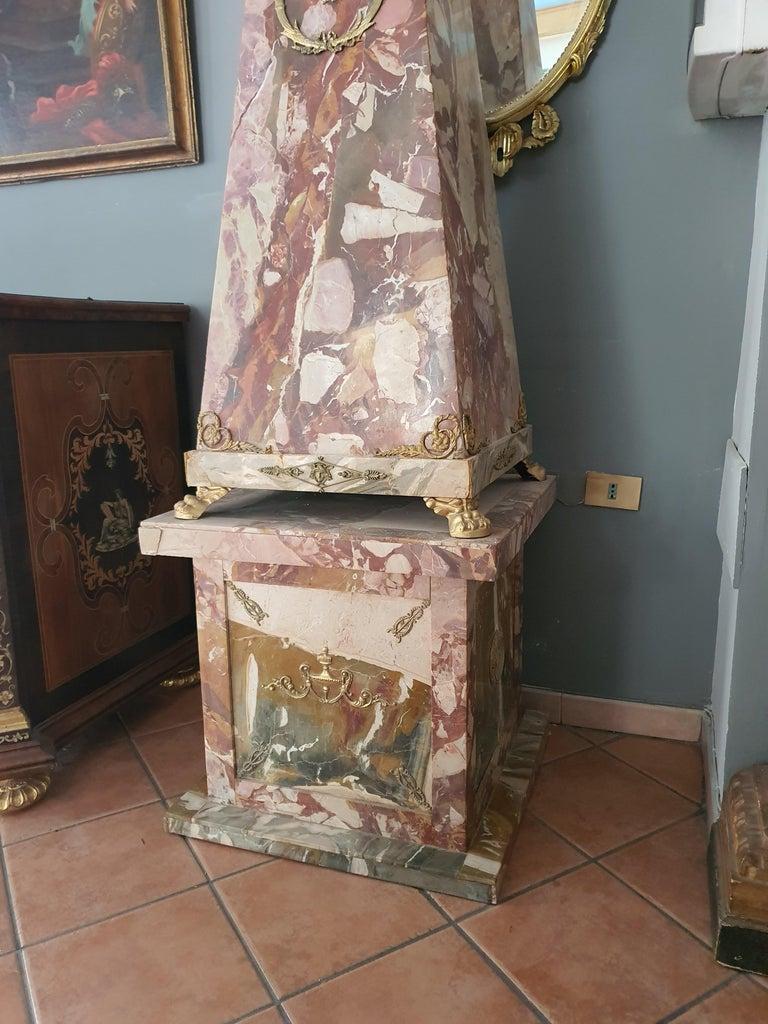 19th Century Pair of Monumental Neoclassical Obelisks Jasper Marble Gild Bronze For Sale 7