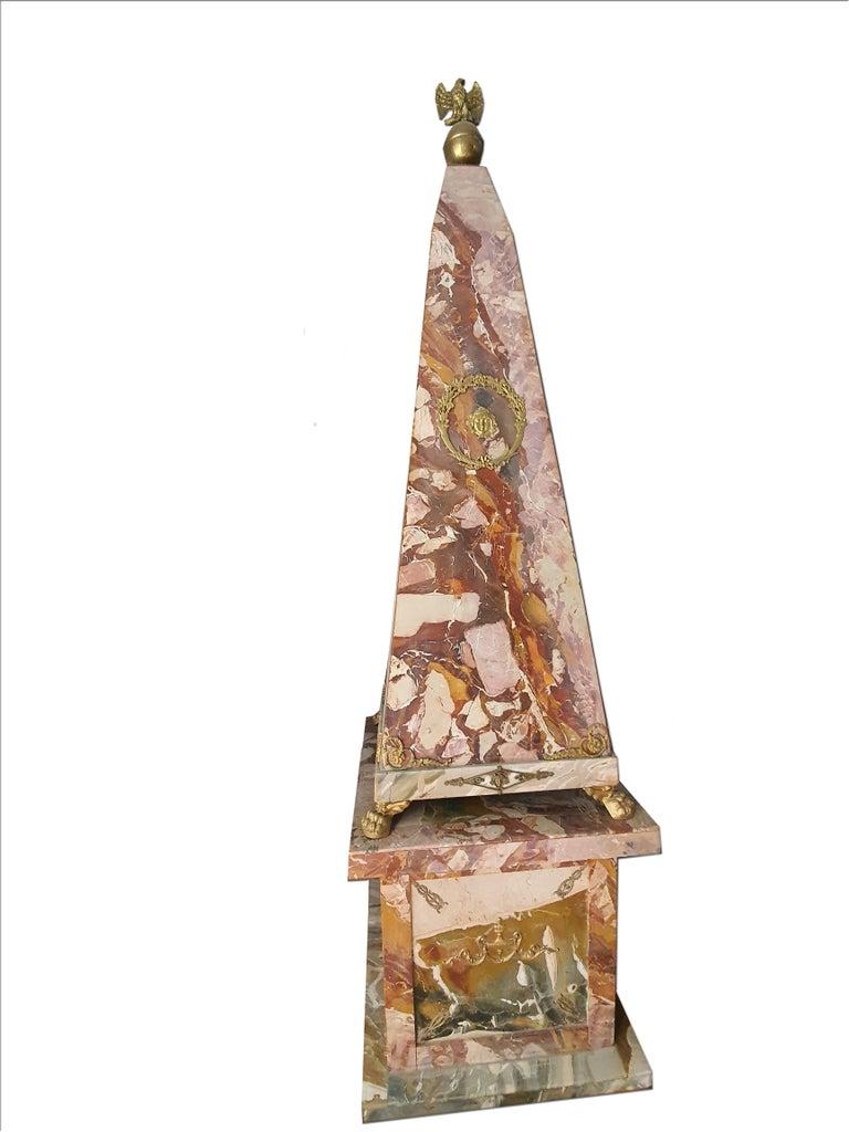 19th Century Pair of Monumental Neoclassical Obelisks Jasper Marble Gild Bronze For Sale 1