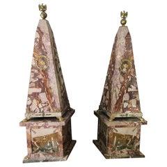 19th Century Pair of Monumental Neoclassical Obelisks Jasper Marble Gild Bronze