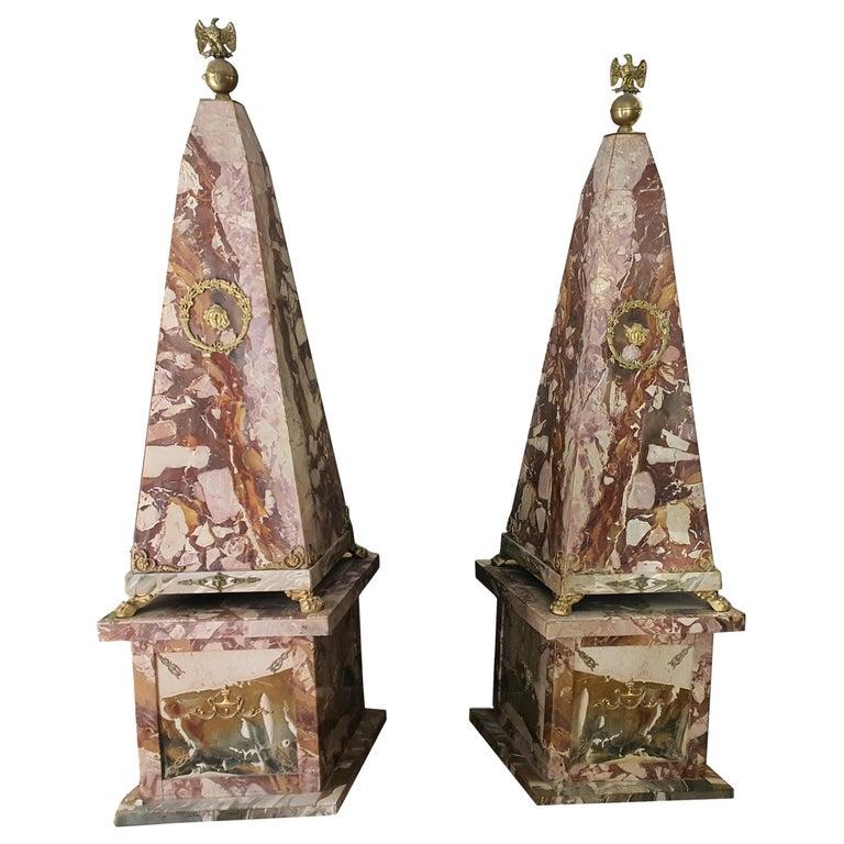 19th Century Pair of Monumental Neoclassical Obelisks Jasper Marble Gild Bronze For Sale