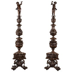 19th Century Pair of Napoleon III Andirons in Patinated Bronze