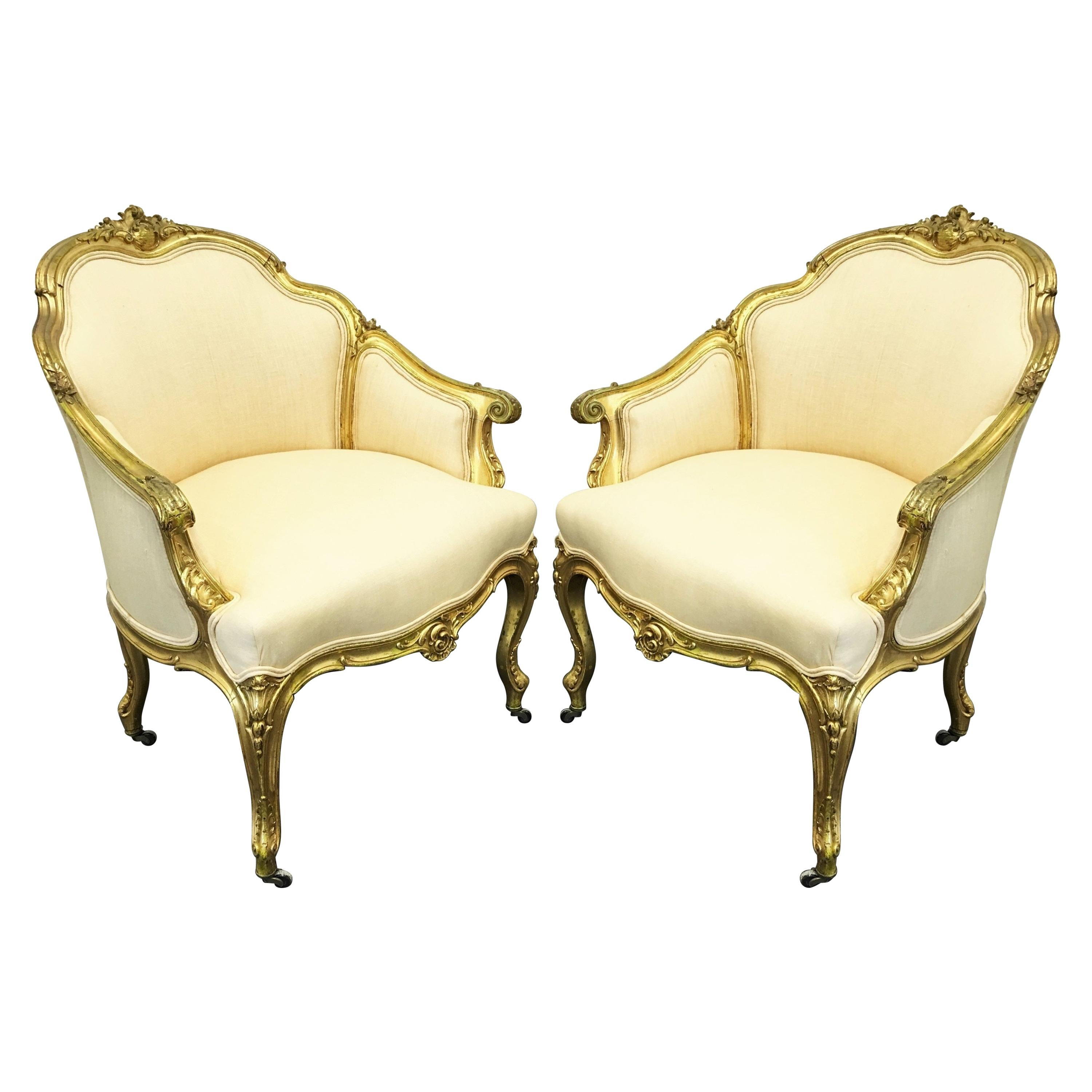 19th Century Pair of Napoleon III Giltwood Bergères