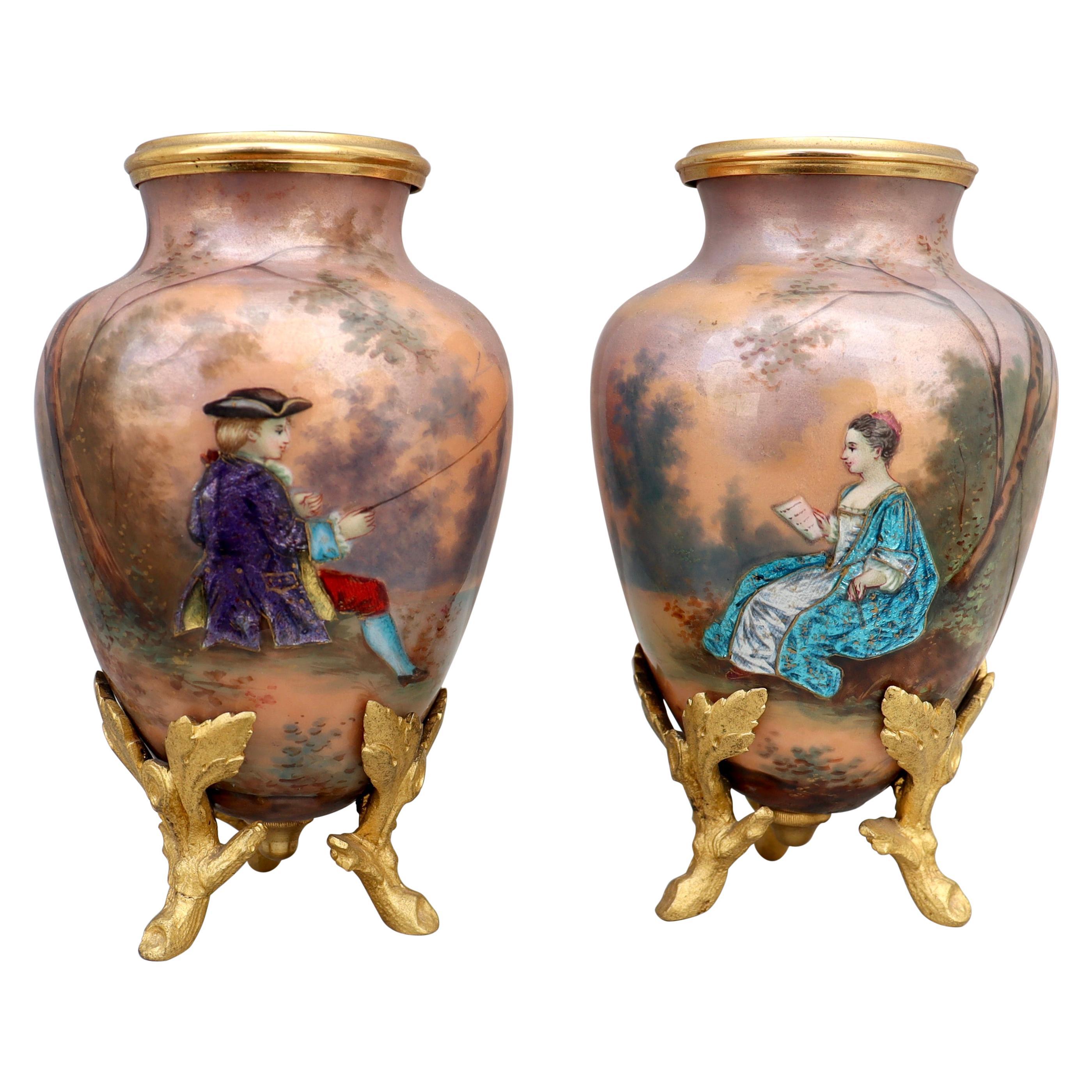 19th Century Pair of Napoléon III Limoges Enamel Vases