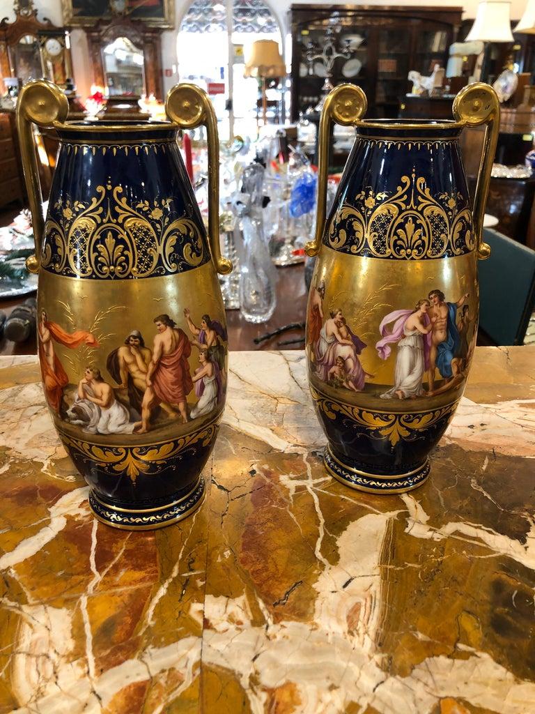 Austrian 19th Century Pair of Napoleon III° Porcelain Vases Vienna, 1860s