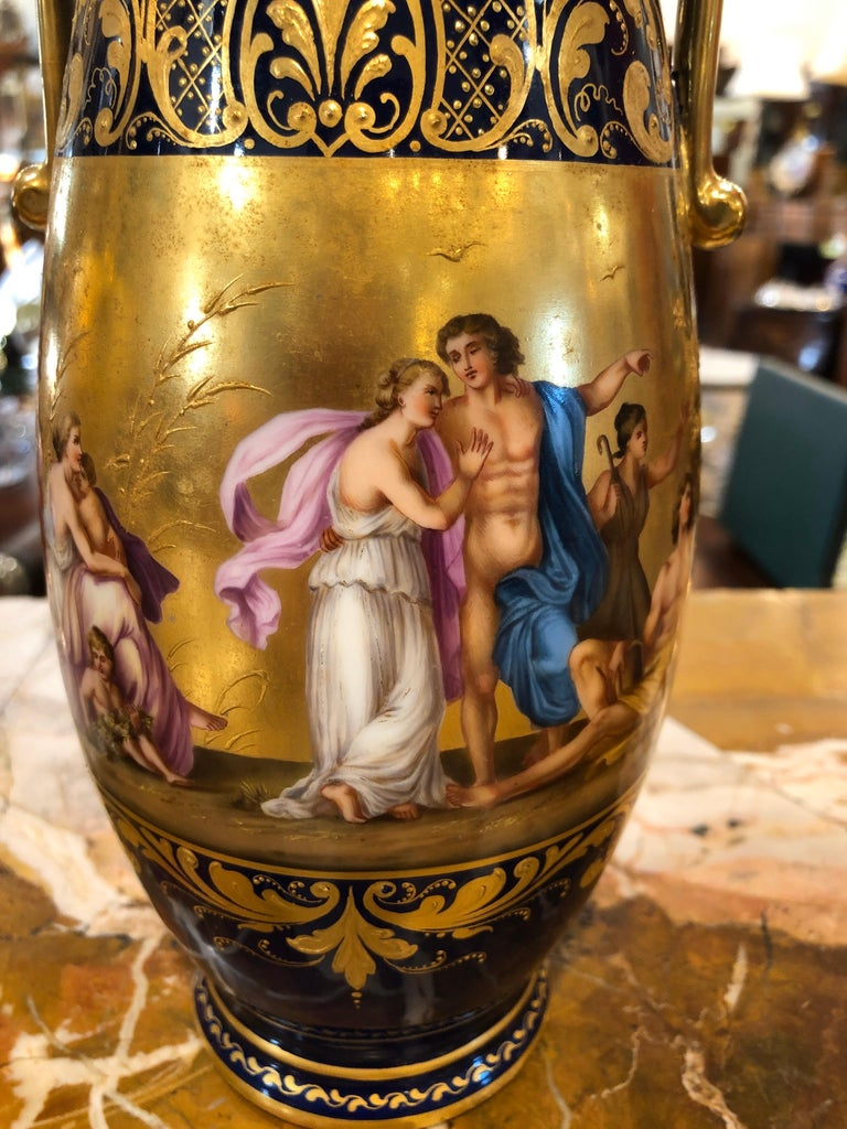 19th Century Pair of Napoleon III° Porcelain Vases Vienna, 1860s In Good Condition In Roma, RM