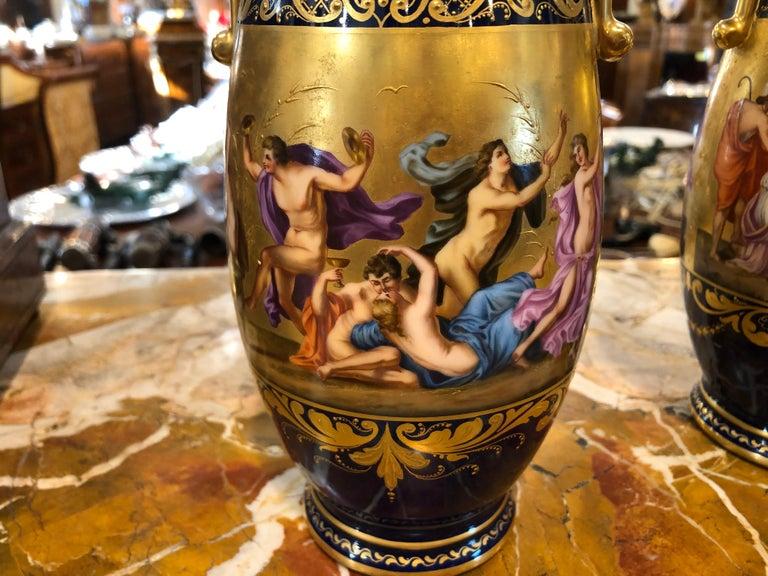 Mid-19th Century 19th Century Pair of Napoleon III° Porcelain Vases Vienna, 1860s