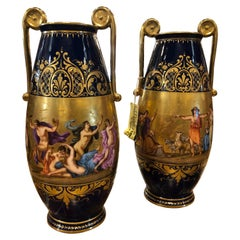 19th Century Pair of Napoleon III° Porcelain Vases Vienna, 1860s