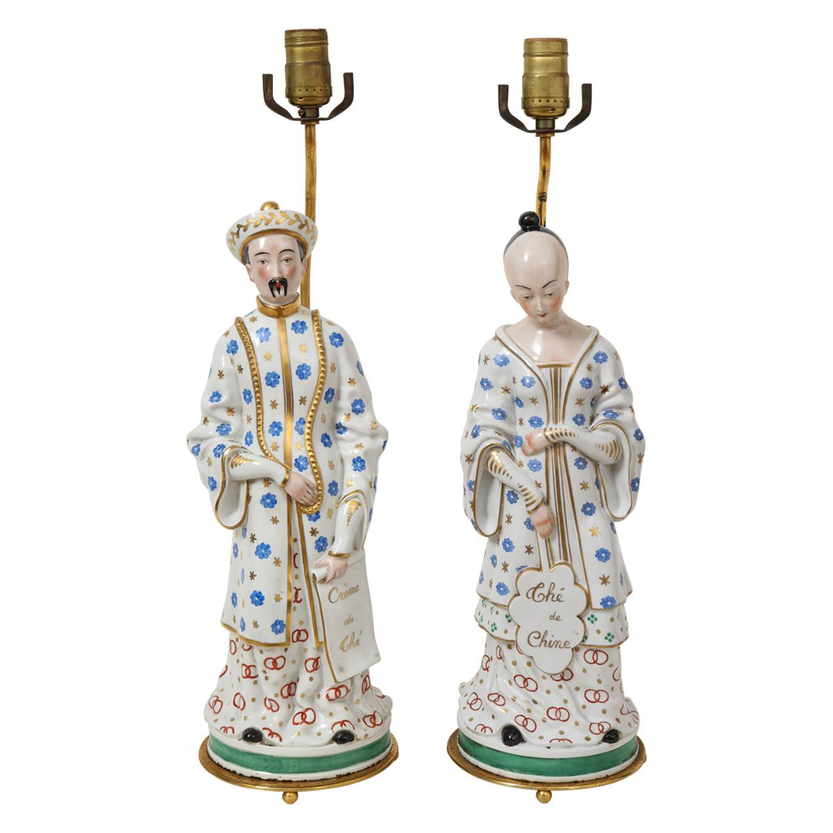 19th Century Pair of Old Paris Chinese Figures Mounted as Lamps